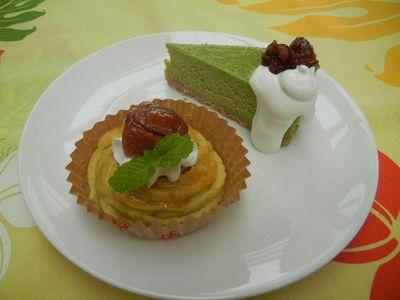 抹茶ベイクドチーズケーキ&栗のスイートポテト