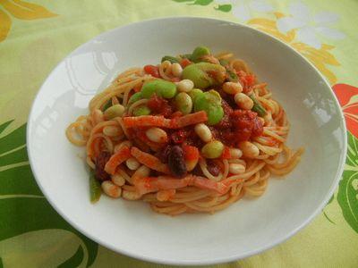 5種ビーンズトマトパスタ